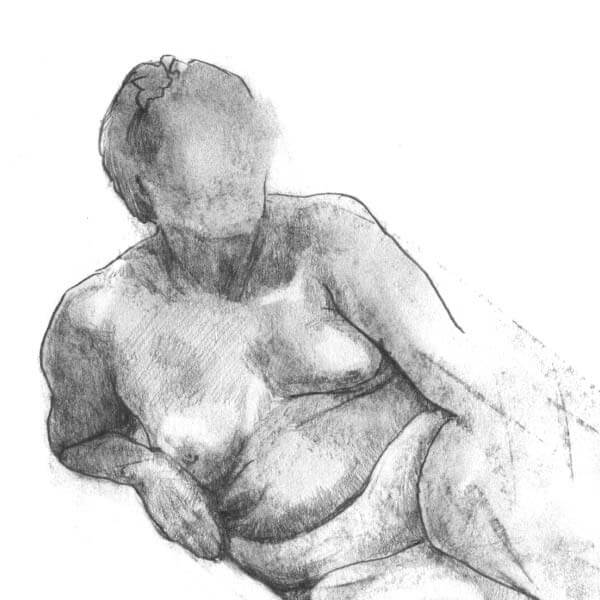 Figure drawing of reclining nude for MIAD drawings.